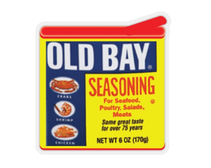 OLD BAY STICKER Old Bay 6oz. Tin Kiss-Cut Stickers Maryland Crabs Stationary Card Making Scrapbooking Paper Crafts Vector Image Graphic Art