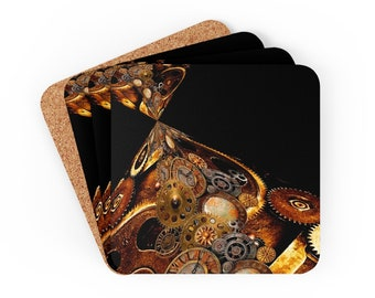 STEAM PUNK COASTERS Set of Four Steampunk Coasters Gears and Clocks Abstract Home Decor Futuristic Decorations Cyber Punk Tableware Gift