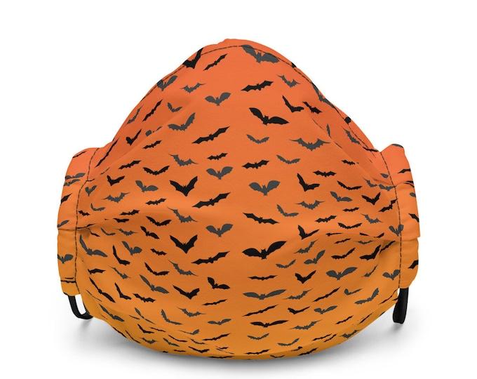 Premium face mask - Orange Bat Mask - Halloween Mask - Unisex Mask - Orange Ombre Bat Print Face Mask - Protective Face Mask - Bat Mask