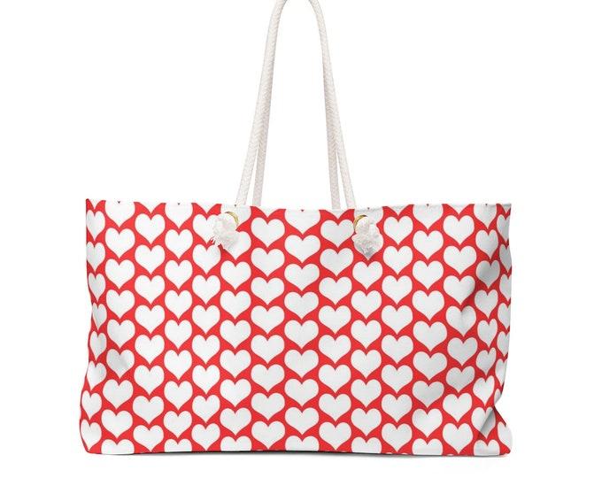 VALENTINES TOTE BAG Red Heart Tote Bag Weekender Bag Oversized Travel Tote Pool Bag Beach Bag Gym Bag Yoga Bag Baby Bag Red and White Tote