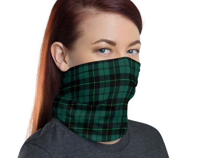FACE MASK Face Covering SCARF Green Tartan Plaid Neck Gaiter - Head Scarf - Face Scarf - Protective Face Covering - Adults Unisex Mask