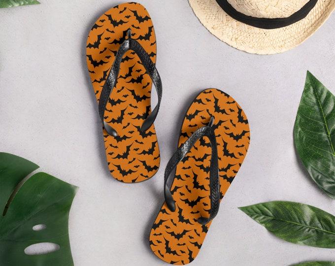 BAT FLIP FLOPS Unisex Thong Sandals Flip-Flops Beachwear Footwear for Men or Women Halloween Flip Flops Gothic Bat Slip on Shoes Accessories
