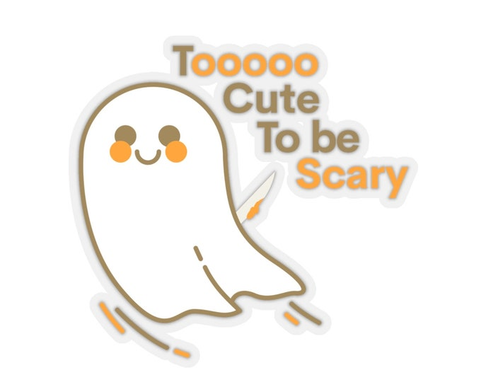 HALLOWEEN STICKER CUT Out Ghost Sticker Paper Crafts Scrapbooking Halloween Sticker Ghost Sticker Too Cute to Be Scary Kiss-Cut Stickers