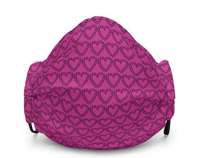 HEART MASK VALENTINES Day Premium face mask Pink and Black Re-useable Washable Face Mask Nose Wire and Filter Pockets Protective Face Mask