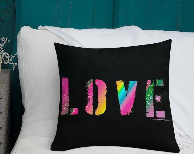 "LOVE Pillow Decorative Home Decor Throw Pillow LGBTQ Pride Rainbow Premium Pillow 18"" x 18"" Square Pillow Housewarming Gift Dorm Decorations"