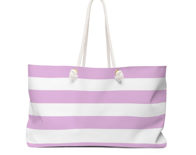 Pink and White Striped BEACH BAG Weekender Bag Overnight Travel Bag TOTE Weekender Tote Pink Ribbon Bag Breast Cancer Support Gift