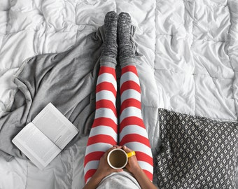 Christmas Elf Leggings Red and White Striped CANDY CANE LEGGINGS Womens Red and White Striped Leggings Yoga Leggings Yoga Pants for Women