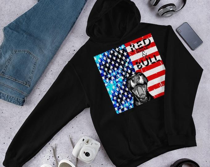 American FLAG Pitbull Red White and BULL HOODIE for Men or Women Patriotic Clothing Gildan 18500 Unisex Heavy Blend Hooded Sweatshirt