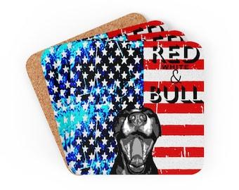 American Pitbull COASTER Set - Red White and Bull - American Flag Coasters - Dog - Coaster Set of 4 - USA Patriotic Coasters - Pitbull Lover