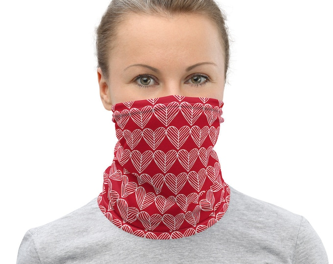 VALENTINES Day Neck Gaiter HEART Face Covering for Valentine's Day Red and White Heart Neck Gaiter Face Covering  Face Scarf Gift for Her