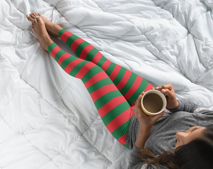 ELF LEGGINGS WOMES Striped Christmas Leggings Red and White Striped Yoga Leggings Womens Yoga Pants Regular and Plus + Sizes Available