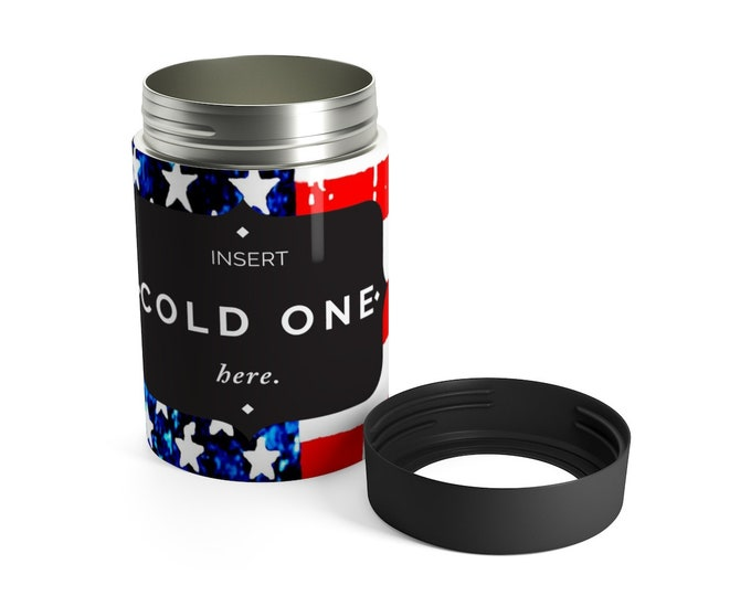 AMERICAN FLAG Cozies Beer Can Holder American Flag Red White and Blue Stars and Stripe Tailgate Gift for Mom Beach Accessories Can Cooler