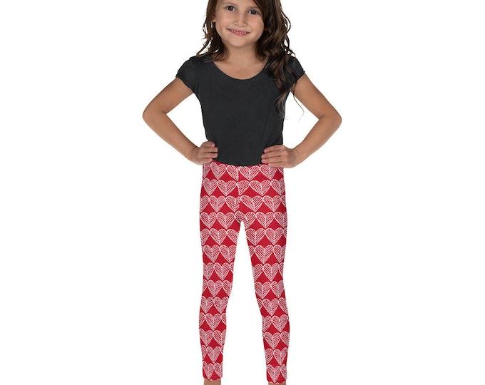 VALENTINES LEGGINGS Girls Leggings Baby Leggings Youth Leggings Red and White Heart Leggings for Kid's Leggings Kids Clothing Heart Tights