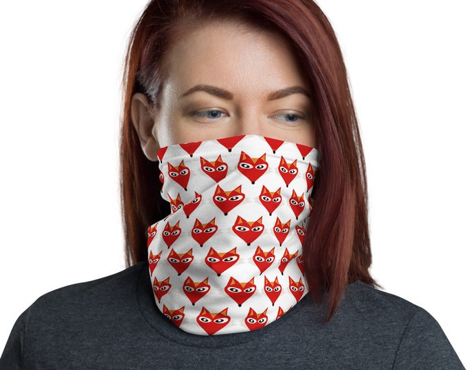 FOX Print Neck Gaiter Face MASK Face Scarf Mask for Adults One Size Made in the USA Fox Face Scarf Protective Face Covering