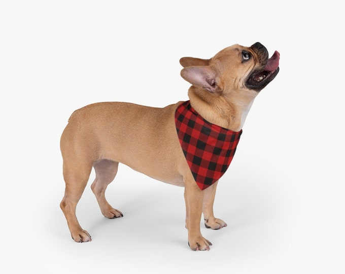 Pet Bandana BUFFALO PLAID DOG Bandana Handkerchief - Pet Accessories - Dog Clothing Holiday Accessories for Dogs Red and Black Buffalo Plaid