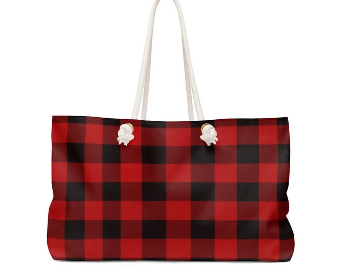 RED BUFFALO PLAID Weekender Bag Tote Oversized Tote Red Plaid Buffalo Plaid Tote day Bag Beach Bag