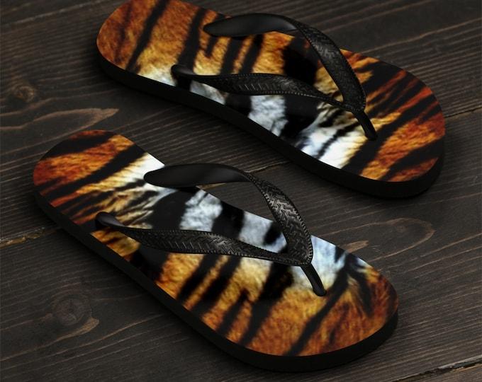 TIGER FLIP FLOPS Tiger Stripe Flip-flops Tiger Print Sandals Mens Womens Unisex Flip-Flops Animal Print Thong Sandals Safari Beach Clothing