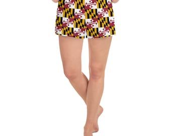 MARYLAND FLAG SHORTS Women's Athletic Short Shorts Workout Clothing Gym Shorts Maryland Clothing Yoga Shorts Running Shorts Bottoms