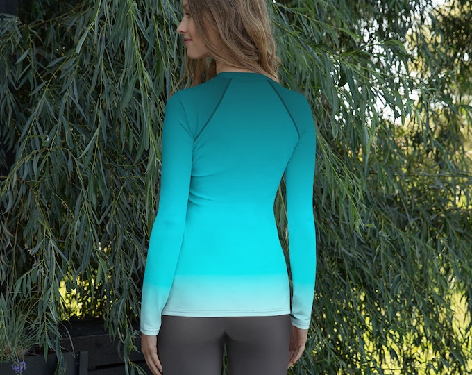 Women's Rash Guard OCEAN Blue OMBRE SWIMWEAR Swim Top Surfing Clothing Rave Clothing Long Sleeve Athletic Top Womens Workout Clothing Top