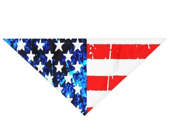Pet Bandana AMERICAN FLAG Dog Bandana USA Patriotic Dog Accessories Pet Bandana for All Sizes Red White and Blue Pet Accessories Dog Gift