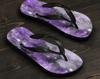 GALAXY Flip Flops THONG SANDALS Cosmic Galaxy Flip-Flops Unisex Flip-Flops Slippers Beach Accessories Rave Flip Flops Festival Flip Flops