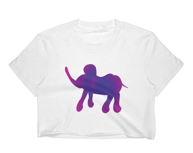 Purple ELEPHANT T-SHIRT Womens Crop T-Shirt Crop Top for Women Los Angeles Apparel 2332 Fine Jersey Short Sleeve Cropped T-Shirt w/ Tear Awa