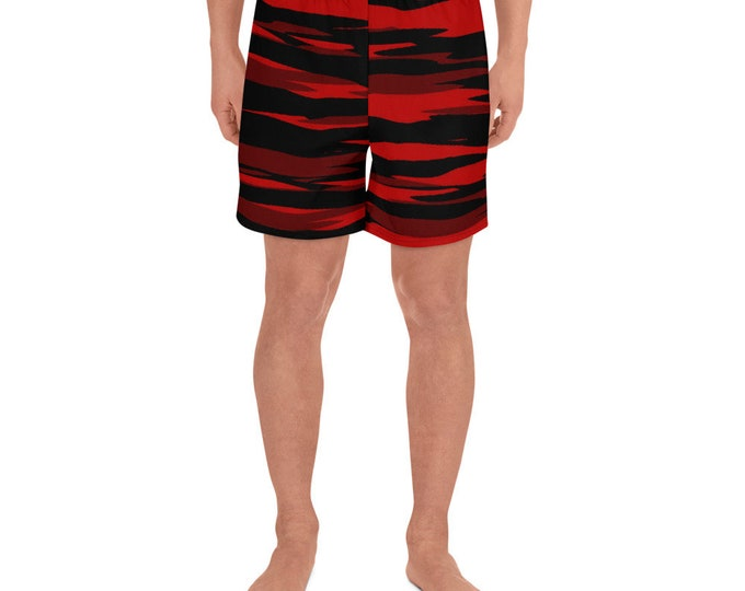 Mens Swimwear Swim Trunks Shorts Red CAMOUFLAGE SHORTS Work-Out Shorts for MEN Camo Shorts Long Short for Men Gym Shorts Activewear Clothing