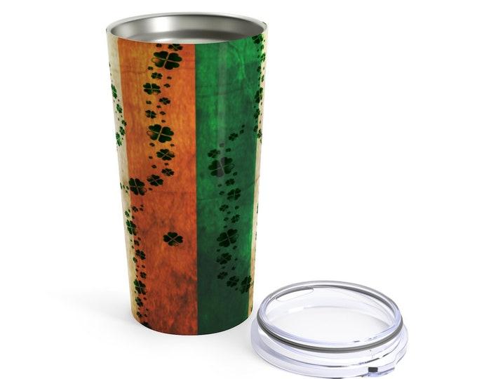 IRISH Flag Mug St Patricks Day Tumbler 20oz Stainless Steel Travel Mug with Lid IRISH Flag CLOVER Shamrock Mug Gift for Saint Patricks Day