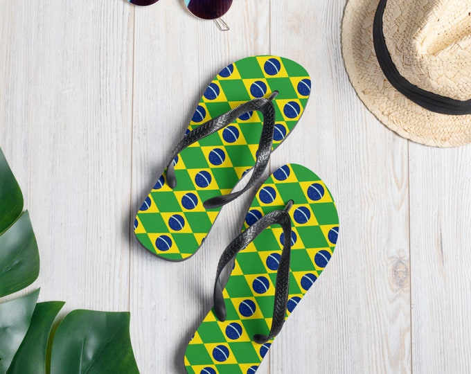 BRAZILIAN FLIP-FLOPS Brazilian Flag Sandals with Brasilian Flag Colors Thong Flip-Flops Unisex Flip-Flops for Men or Women Athletic Sandals