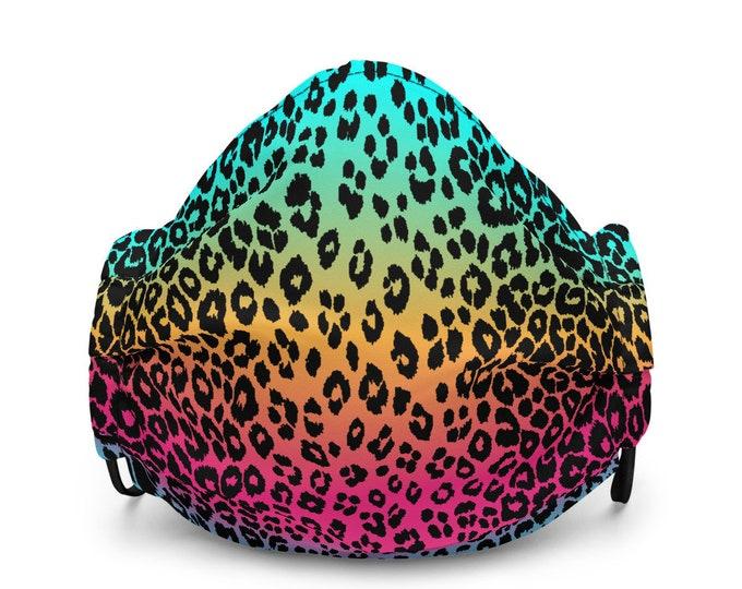 CHEETAH PRINT MASK Rainbow Cheetah Animal Print Face Mask Protective Mask Face Covering Rave Mask Premium face mask