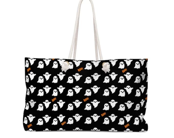 HALLOWEEN GHOST TOTE - Weekender Tote - Weekender Bag - Travel Bag - Teacher Bag - Beach Tote - Beach Bag - Pool Bag - Halloween Purse