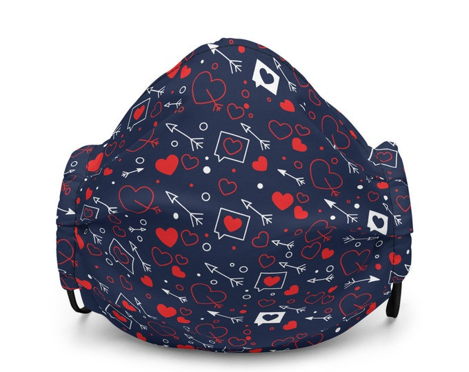 Valentine's Day Heart Print FACE MASK Premium face mask HEART Mask Protective Face Covering for Adults Gift for Her Valentines Day Gift