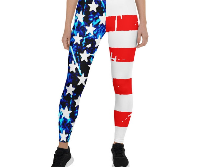 American Flag LEGGINGS Womens Yoga Pants USA Leggings Red White and Blue Stars and Stripes Patriotic Yoga Leggings for Women Summer