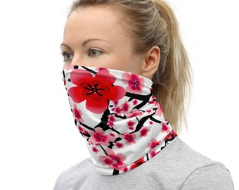 Face Mask Neck Gaiter Cherry Blossom Flower Floral Print FACE MASK Face Scarf Protective Face Covering One Size Fits All Made in the USA