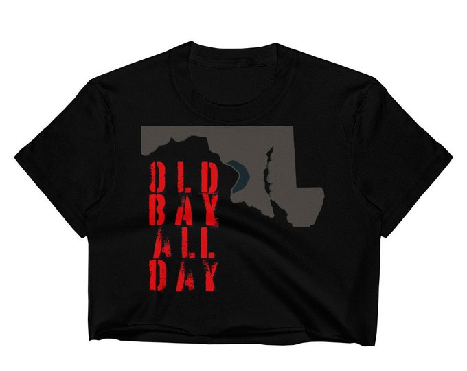 Women's Crop Top MARYLAND Old Bay All Day Womens Cropped Tee Shirt Crop Top T-Shirt Belly Shirt Work Out Clothing Streetwear Urban Sexy Top
