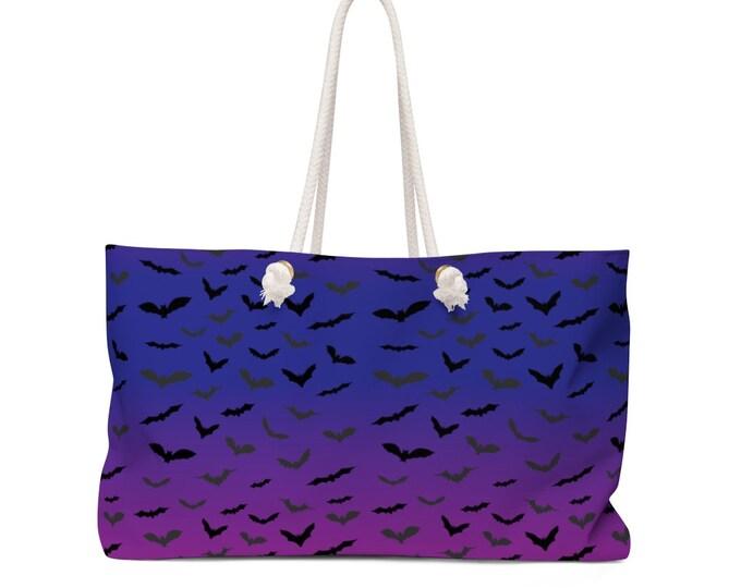 PURPLE HALLOWEEN BAT Weekender Tote Weekender Bag Beach Bag Pool Bag Oversized Tote Wet Bag Travel Bag Purse Halloween Accessories Gift