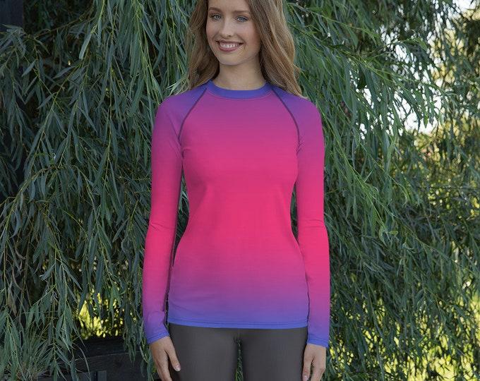 Pink & Purple Ombre Print RASH GUARD Top WOMENS Athletic Clothing Surf Top Beachwear Women's Rash Guard Workout Top Long Sleeve Top Women's