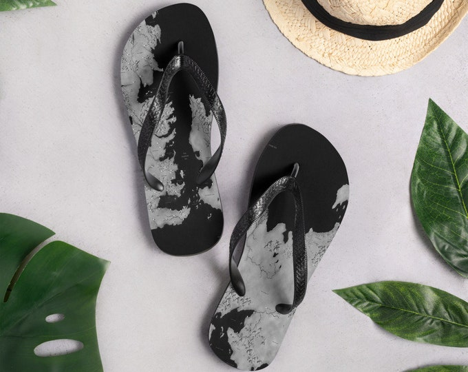 Map of WESTEROS and Essos FLIP-FLOPS Game of Thrones Inspired Art Print Flip-Flops for Men or Women Thong Sandals Black and Grey Footwear F
