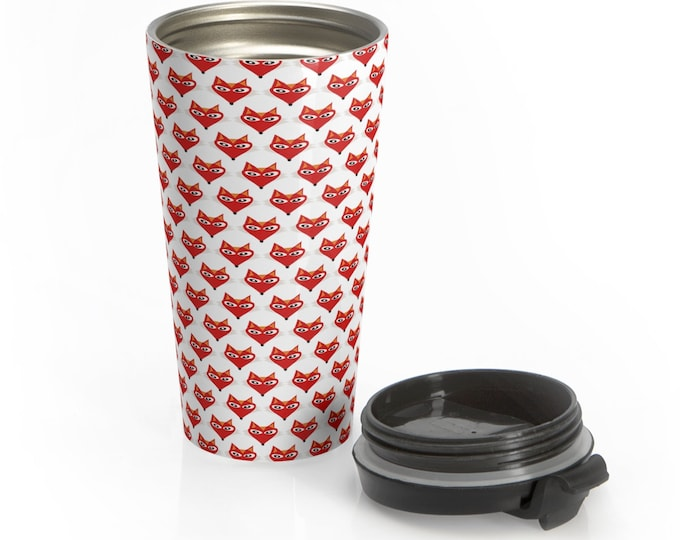 FOX MUG Drinkware Hot or Cold 15 Oz. Stainless Steel Travel Mug CUP Fox Print Travel Mug Spill Proof Coffee Cup Gift Mug Gift for Anyone