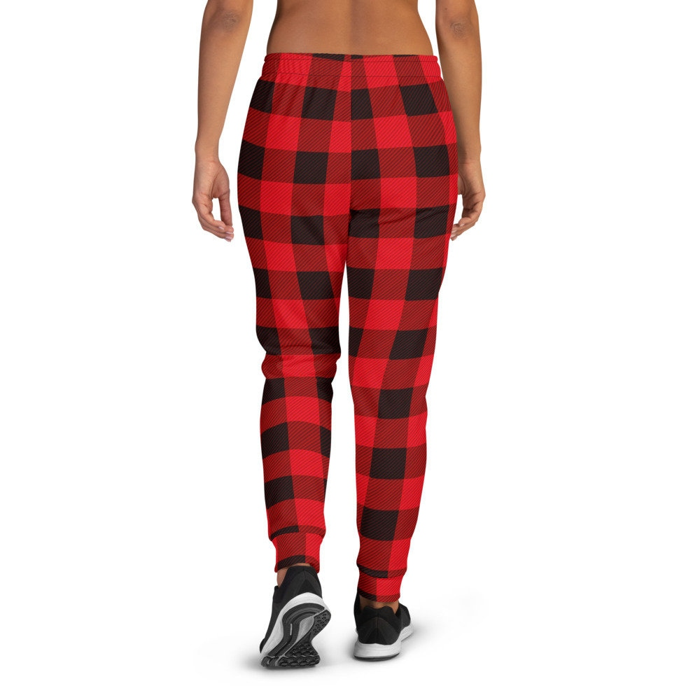Red Plaid Buffalo Auntie Bear Youth Jogger Pants Novelty Trouser Sweatpants
