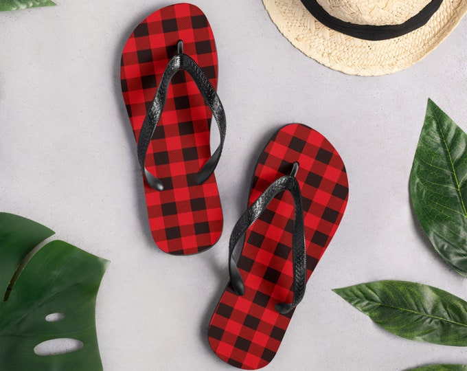 Red and Black BUFFALO PLAID Flip-Flops Unisex Thong Sandals for Men or Women Red and Black Buffalo Check Sandals Black Thong Flip Flops