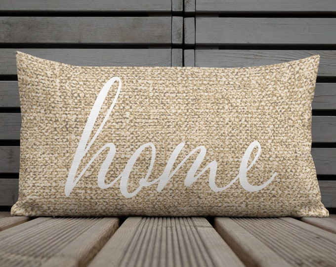 """Country Chic Home Decor Decorative Throw PILLOW Faux BURLAP Printed PILLOW Premium Pillow Home Decor Square Pillow 18""""x18"""" Cushion Included"""