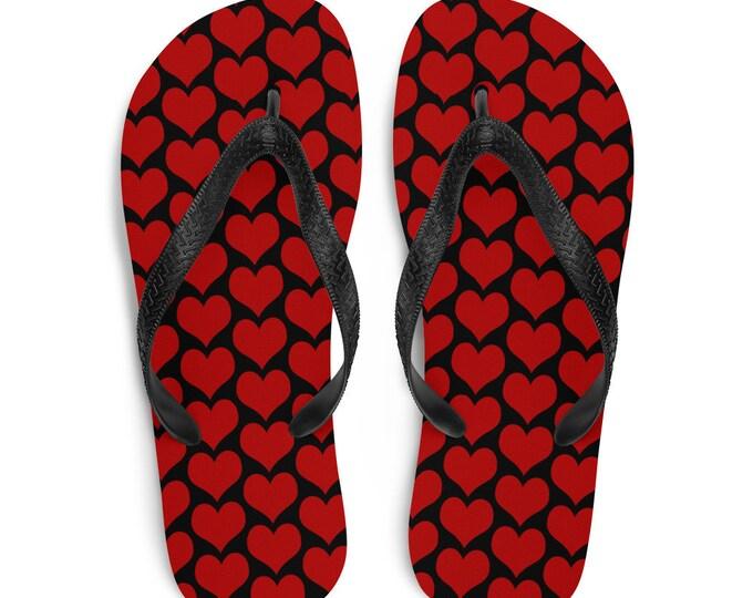 Valentines Day HEART Flip-Flops Black and Red Heart Print Thong FLIP-FLOPS Womens Sandals Beachwear Footwear for Men or Women Unisex Shoes
