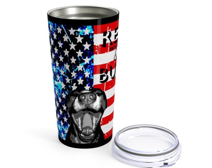 American Flag Red White & Blue American PITBULL USA MUG Stainless Steel Tumbler 20oz Hot or Cold Drinks Gift for Him Gift for Her Travel mug