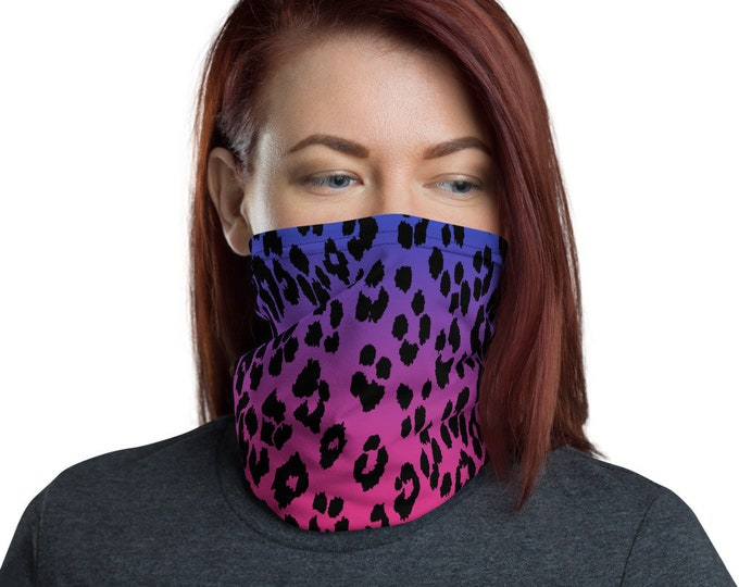 Cheetah Print FACE MASK Face SCARF Pink and Purple Animal Print Face Covering Protective Mask Neck Gaiter Scarves Scarf Accessories Face