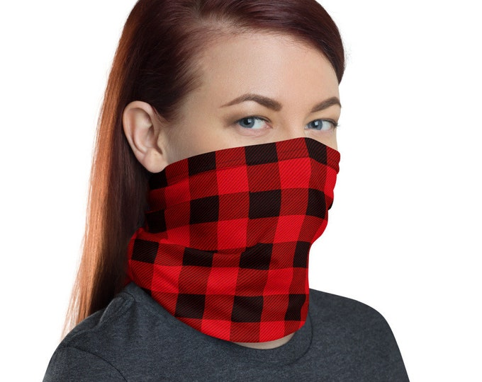 Neck Gaiter Face MASK Red and Black BUFFALO PLAID Protective Face Covering Adult Unisex Face Scarf Face Covering for Adults Christmas Gift