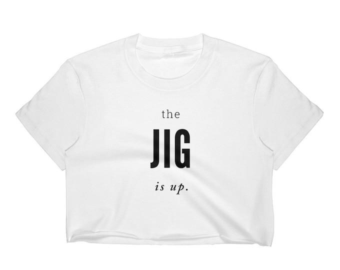 Statement T-SHIRT WOMENS Fashion T-Shirt Crop Top Tee Los Angeles Apparel 2332 Fine Jersey Short Sleeve Cropped T-Shirt w/ Tear Away Label
