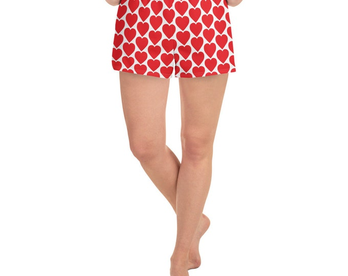Women's Athletic Short Shorts HEART SHORTS WOMENS Workout Clothing Gym Shorts Red and White Heart Shorts Joggers Fitness Shorts With Pockets