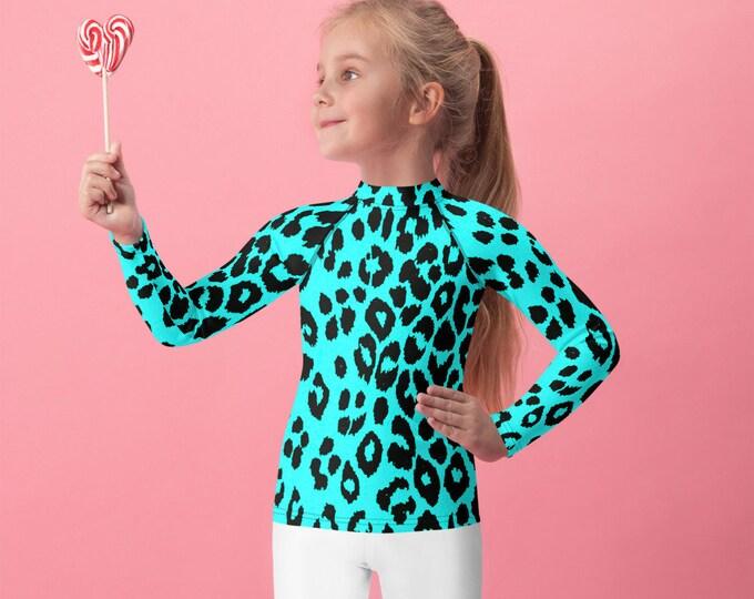 CHEETAH RASH GUARD for Girls Long Sleeve Animal Print Cheetah Print Swim Top for Girls or Boys Unisex Swim Top Cheetah Top Kids Rash Guard