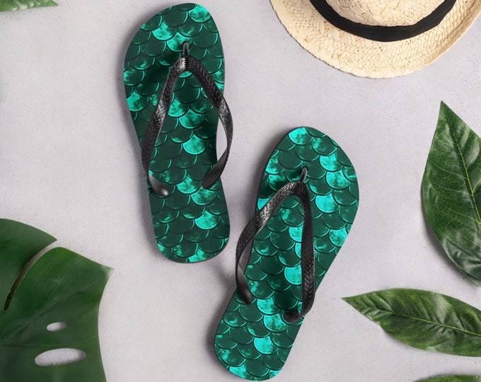 MERMAID FLIP FLOPS Mermaid Scale Thong Sandals Green Mermaid Ariel Sandals Unisex Flip-Flops Beachwear Fashion Accessories Womens Footwear
